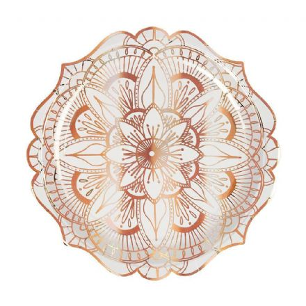 Rose Gold Mandala Paper Plates - Large